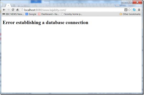 Screenshot - Error establishing a database connection