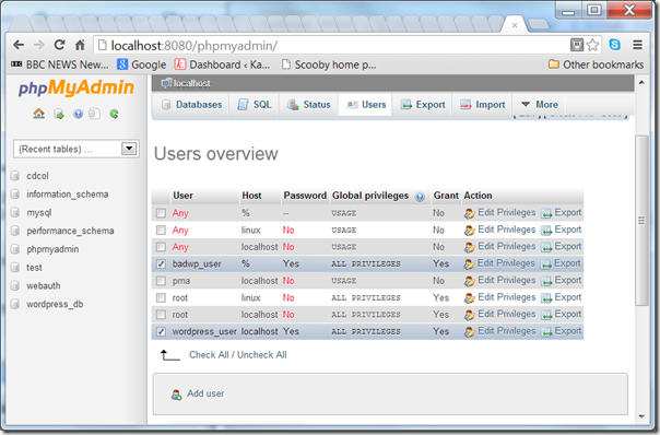 "Screenshot - phpMyAdmin showing a ""good"" and ""bad"" user."