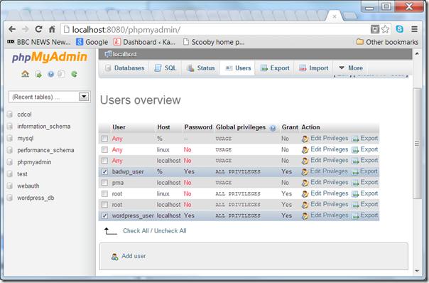"Screenshot - phpMyAdmin showing a ""good"" and ""bad"" user."