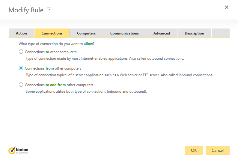Norton Security Firewall - Add Rule: Connections tab with 'Connections from other computers' selected.