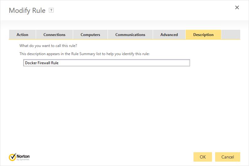 Norton Security Firewall - Add Rule: Description tab with a description of 'Docker Firewall Rule'.
