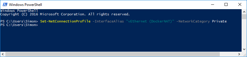 "Windows PowerShell - showing the command to make the Docker network ""(vEthernet (DockerNAT)"" private."