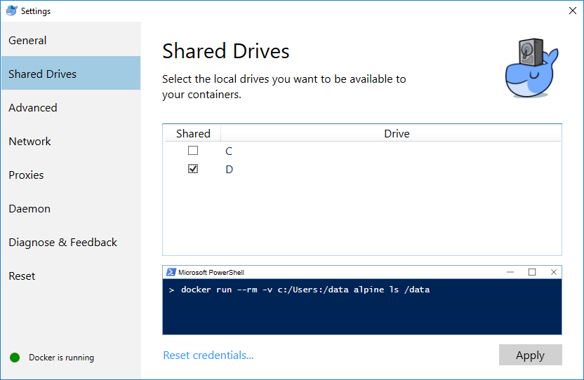 The Docker for Windows settings dialog showing the Shared Drives tab.  The C and D drives are shown with D selected and an Apply button at the bottom.