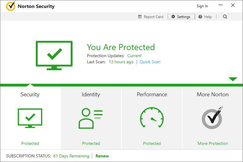 The Norton Security dialog.