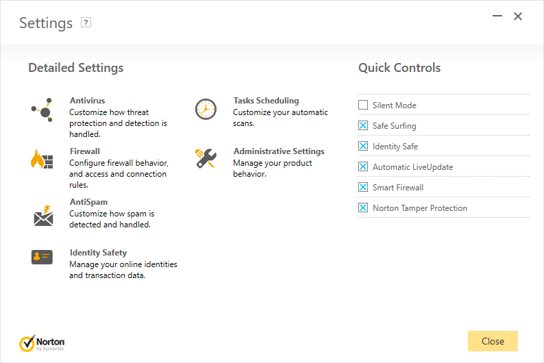 The Norton Security settings dialog.