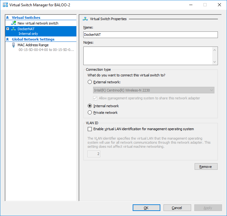 Hyper-V Manager - Virtual Switch Manager showing DockerNAT network switch