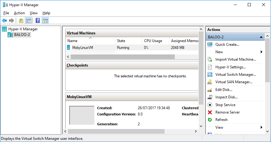 Hyper-V Manager showing the MobyLinuxVM