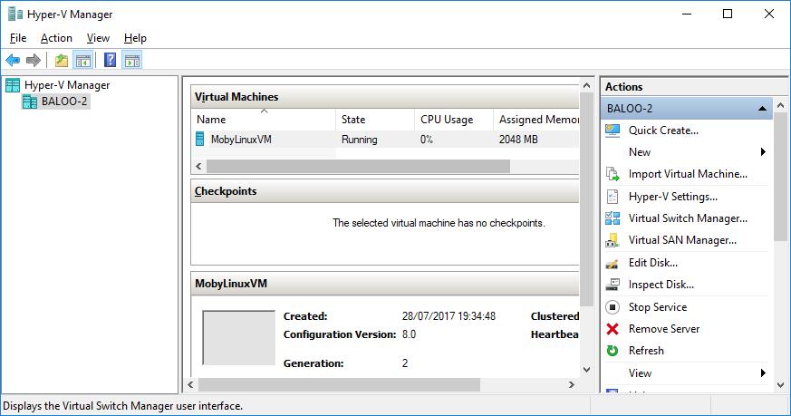 Hyper-V Manager showing the MobyLinuxVM