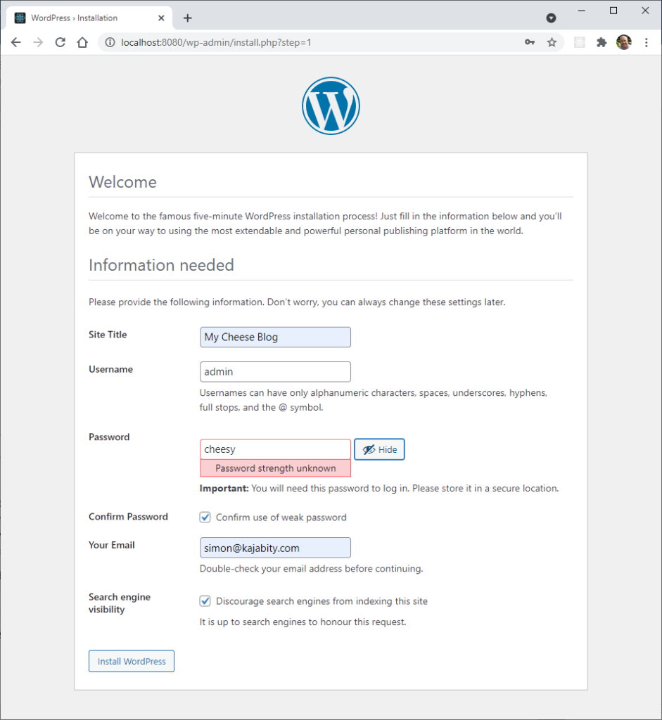 The famous five-minute WordPress installer step 1 - Information needed. Enter the site title, a username and password and email address.