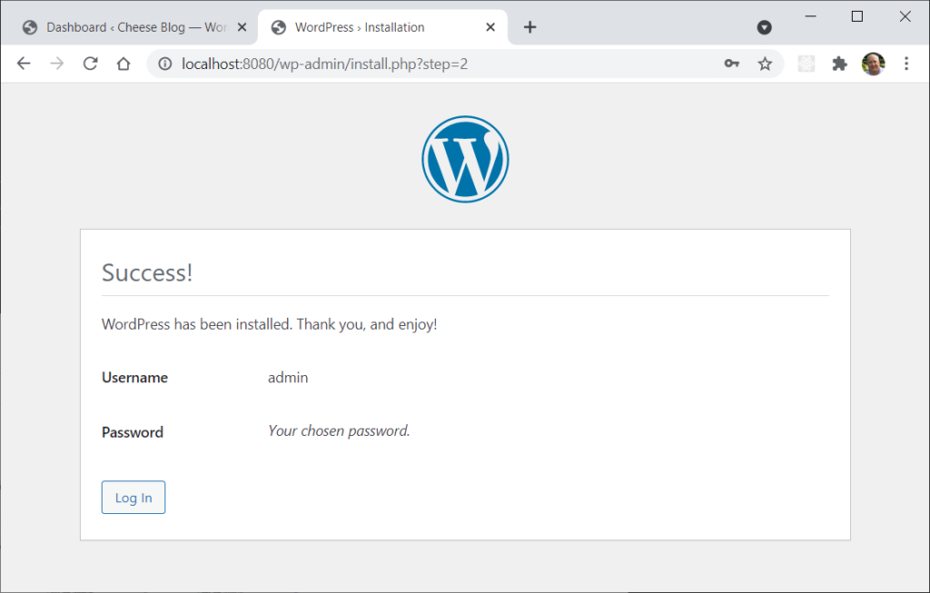 The famous five-minute WordPress installer step 2 page – success.