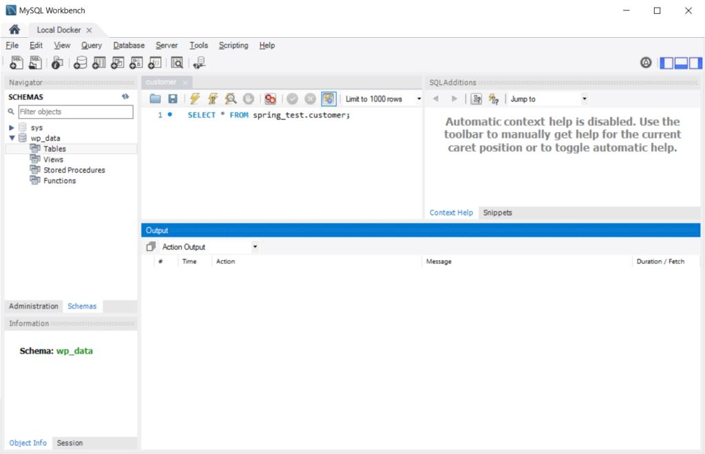 A screenshot of the MySQL Workbench view of the empty WordPress database schema.