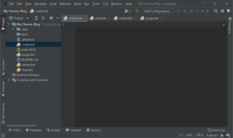 A screenshot of JetBrains IntelliJ IDEA IDE with the My Cheese Blog project and files.