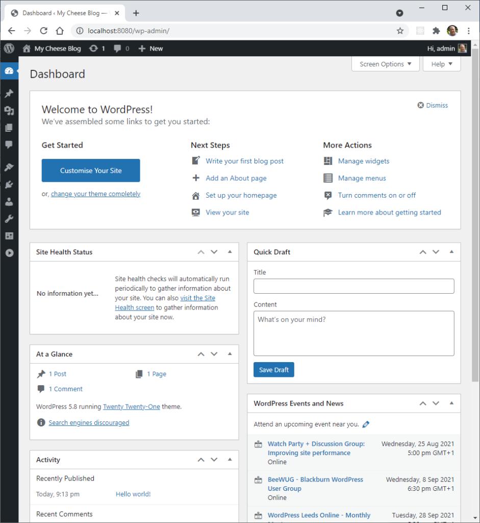 The WordPress Dashboard on first login after installation.