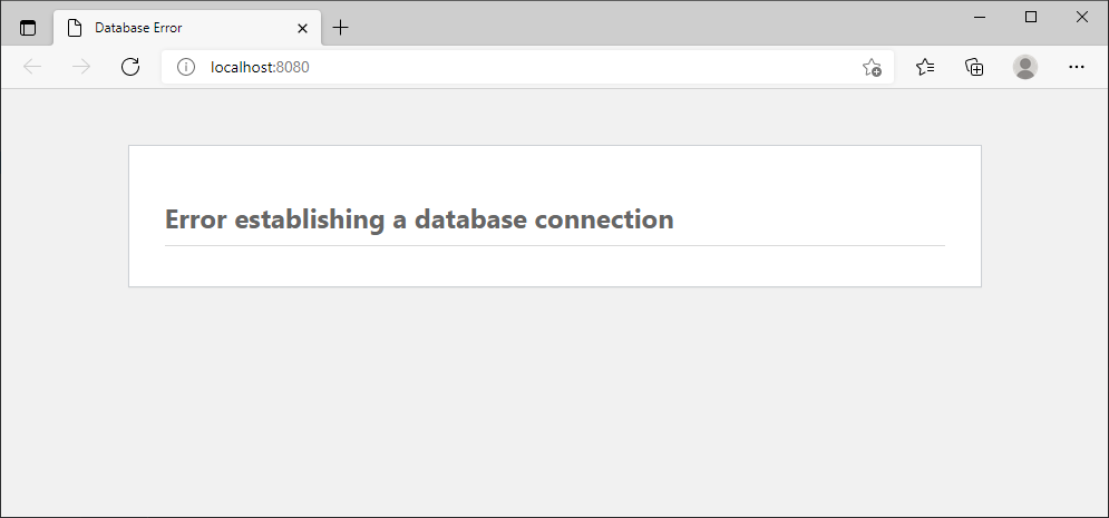 """A web page showing the WordPress message """"Error establishing a database connection""""."""