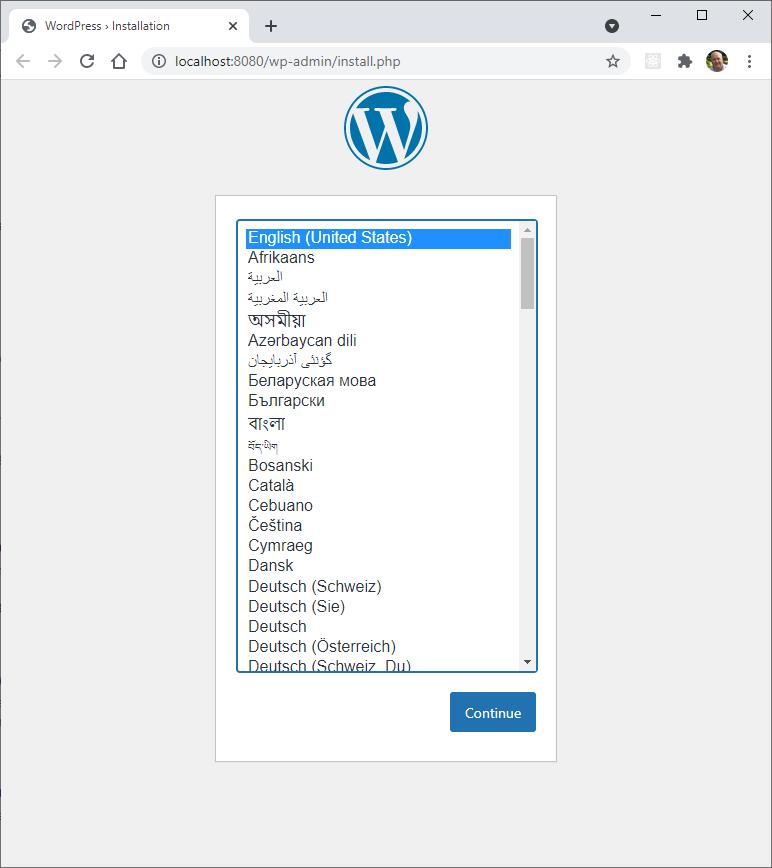 WordPress installer language selection page