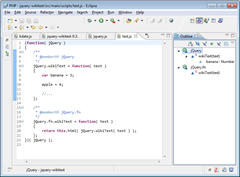 JavaScript with JsDoc Markup in Eclipse IDE showing resultant Outline View
